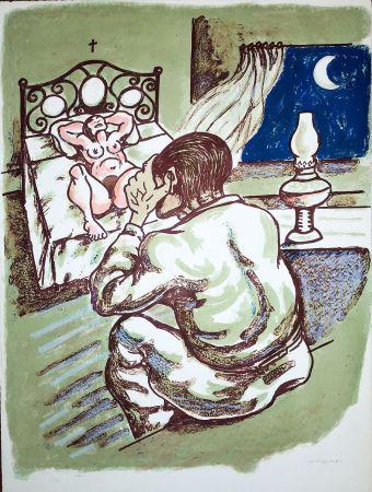 Lithograph Migneco - La notte