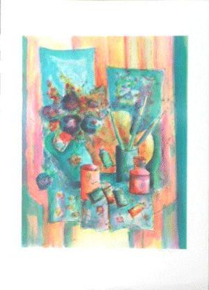Lithograph Agostini  - La palette du peintre