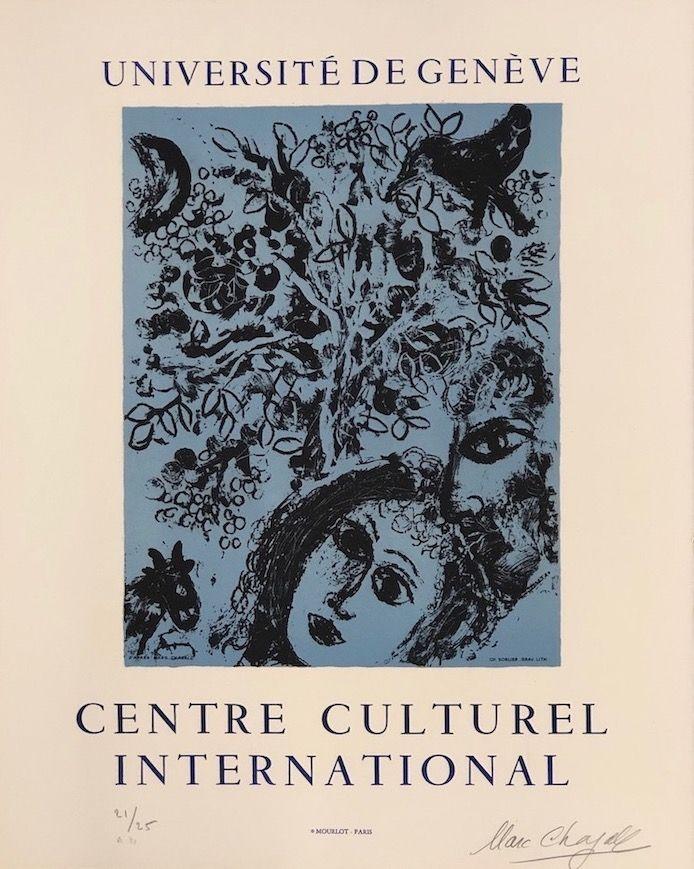 Lithograph Chagall - La pareja delante del árbol
