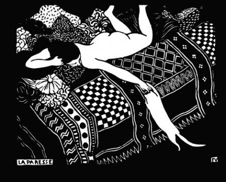 Woodcut Vallotton - La paresse