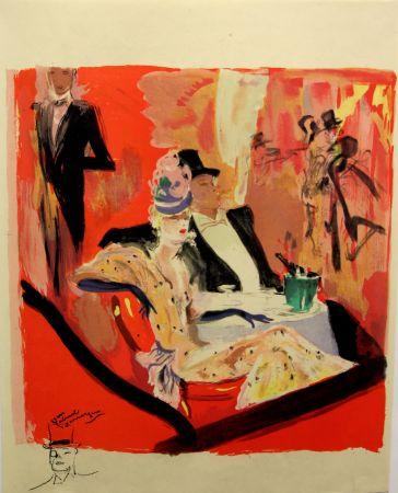 Lithograph Domergue - La  Parisienne - Chez Maxim's