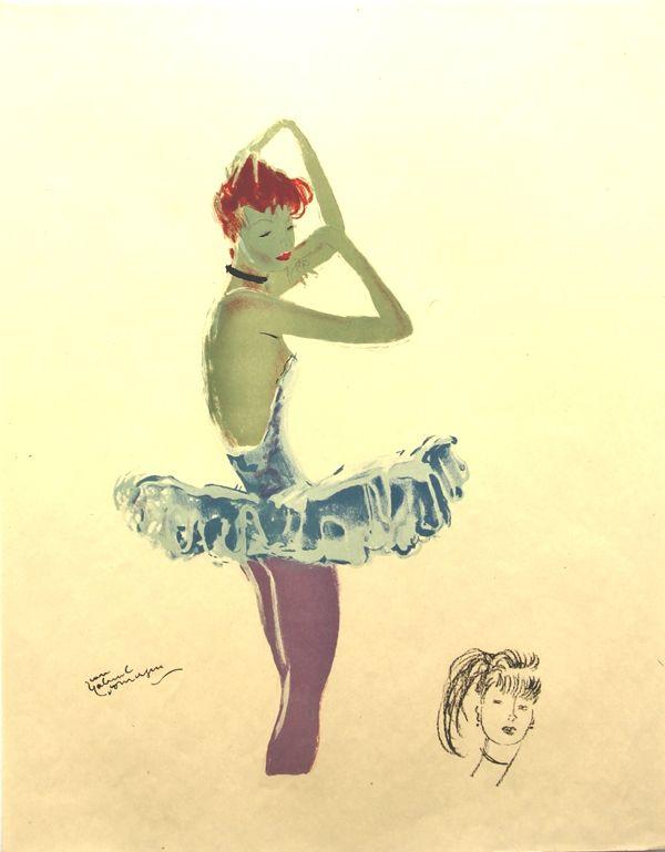 Lithograph Domergue - La Parisienne  Ballerine