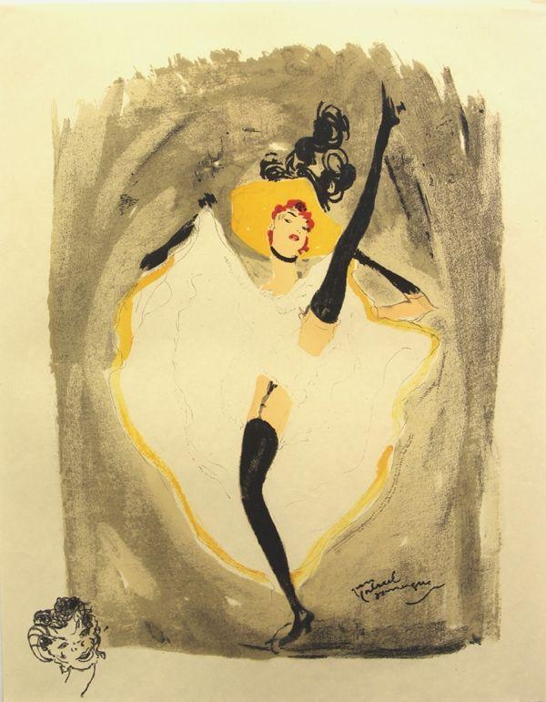 Lithograph Domergue - La  Parisienne  Danseuse Cancan