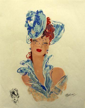 Lithograph Domergue - La  Parisienne Femme au Chapeau Bleu