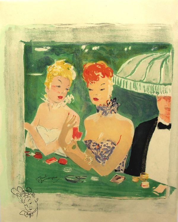 Lithograph Domergue - La Parisienne Femmes au Casino