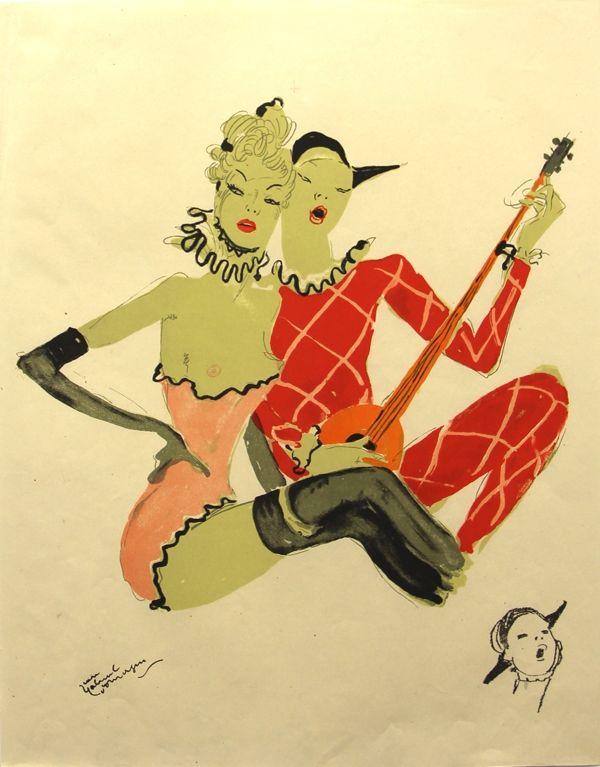 Lithograph Domergue - La Parisienne  Les Deux Jeunes Femmes