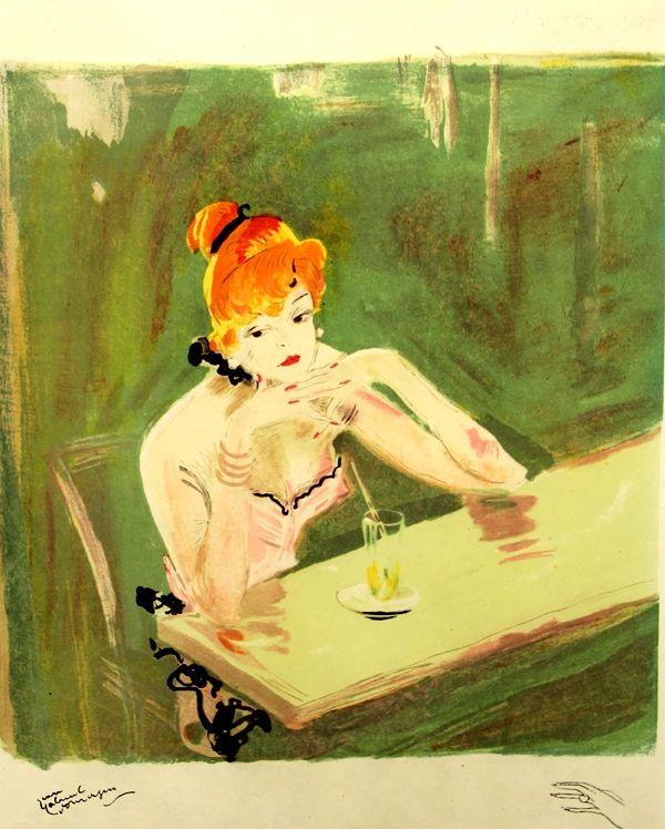 Lithograph Domergue - La  Parisienne  Mauricette Au Cafe Caumartin