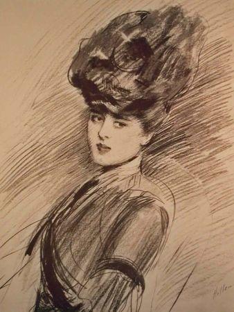 Lithograph Helleu - LA PARISIENNE WOMAN IN HAT