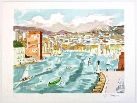 Lithograph Brayer - La passe du vieux port