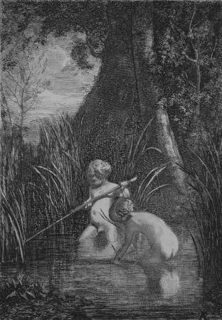 Engraving Fontanesi - La pesca