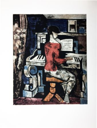 Etching And Aquatint Gromaire - La pianiste
