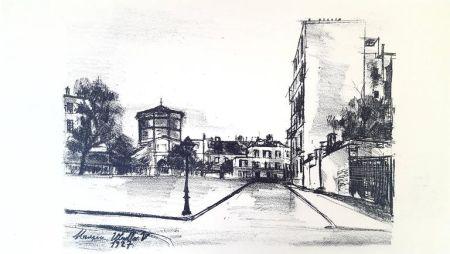 Lithograph Utrillo - La Place Ravignan, Montmartre