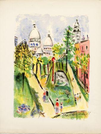 Lithograph Utrillo - LA PLACE SAINT-PIERRE (le Sacré-Cœur). Épreuve pour Maurice Utrillo (1955)