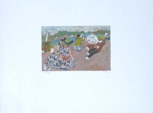 Lithograph Pougny - La plage