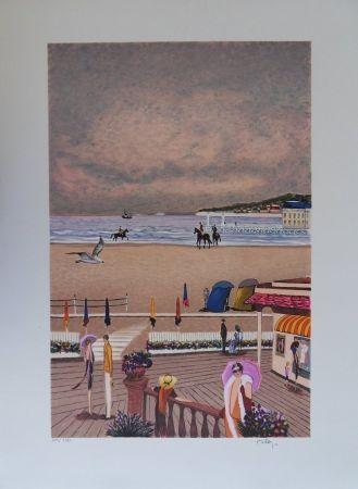 Lithograph Dilley - La plage de Deauville
