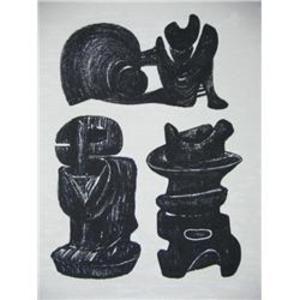 Lithograph Moore - La Poésie Three Sculptural Forms