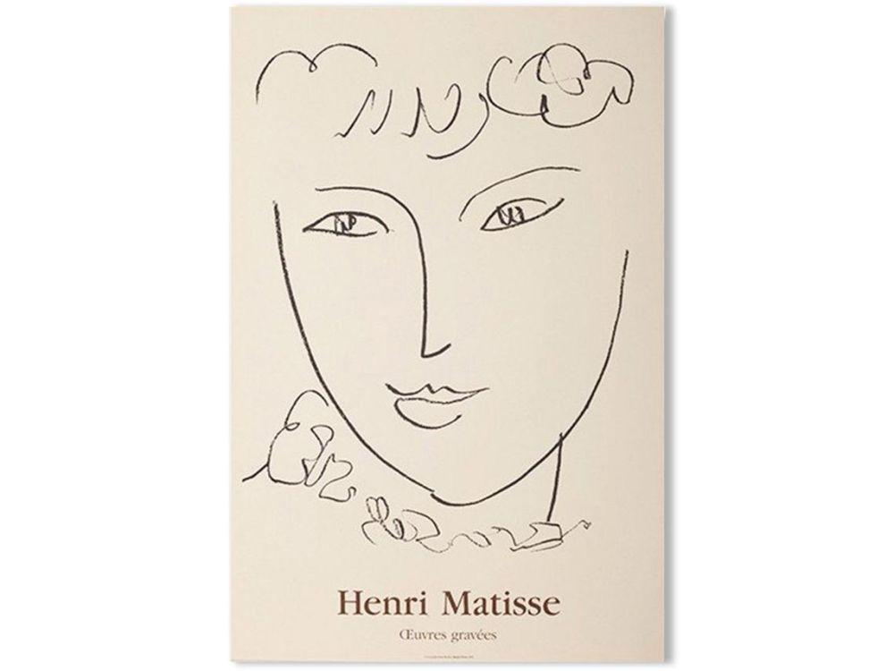 Lithograph Matisse - LA POMPADOUR. Affiche en lithographie pour l'exposition de 1951.
