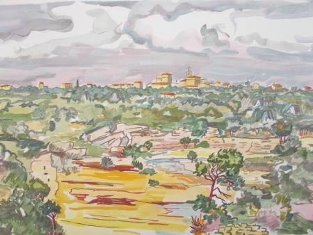 Lithograph Brayer - La Provence,le village
