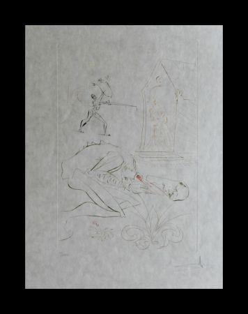 Etching Dali -  La Quete du Graal Fight Before la Dame de Malehout