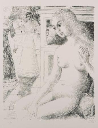 Lithograph Delvaux - La rencontre