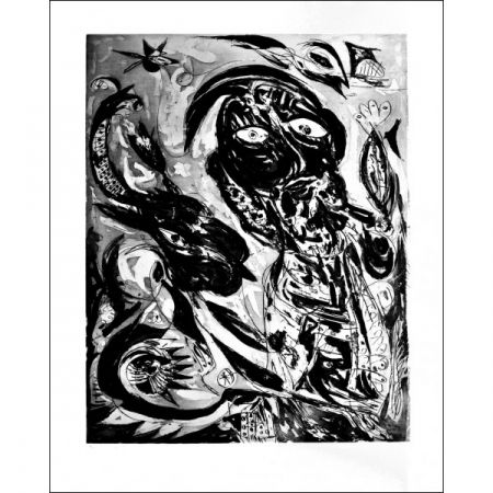 Aquatint Pedersen - La  Reve de la licorne