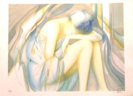 Lithograph Valadie - La reveuse