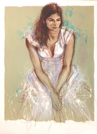 Lithograph Pecnard - La robe blanche