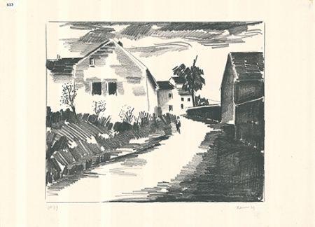 Lithograph Vlaminck - La route de Nesles