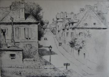 Etching Delatre - La rue de Paris, à Rozoy-en-Brie