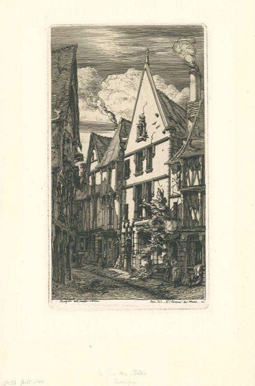 Etching Meryon - La rue des Toiles, à Bourges