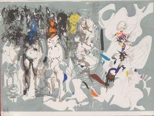 Lithograph Moretti - La rue st denis