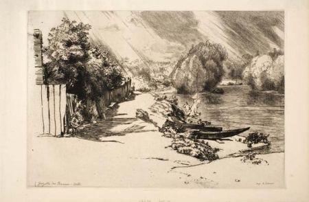 Etching Bracquemond - La Seine au bas Meudon