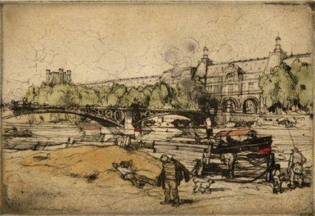 Etching And Aquatint Coussens - La Seine au Pont du Carrousel
