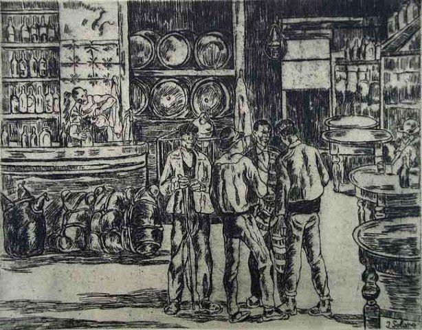 Engraving Gutiérrez Solana  - La taberna