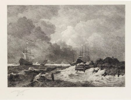 Etching Huet - La tempête (The Storm) [with] Brisants, Granville (Breakers, Granville)