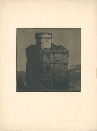 Etching And Aquatint Gattiker - La Torre di Rapallo (Torre Pagana)