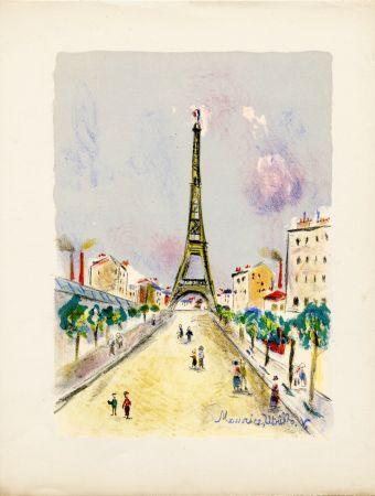 Lithograph Utrillo - LA TOUR EIFFEL. Épreuve pour Maurice Utrillo (Paris, 1955)