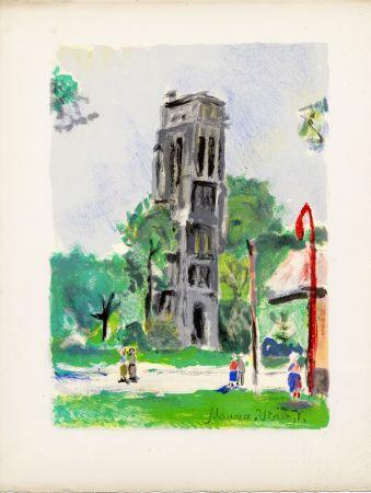 Lithograph Utrillo - LA TOUR SAINT-JACQUES. Épreuve pour Maurice Utrillo (Paris, 1955)