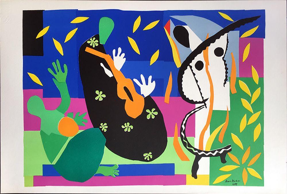Lithograph Matisse - LA TRISTESSE DU ROI. Lithographie sur Arches 1958 (tirage original. Tériade éditeur)