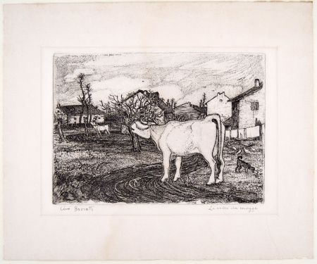 Etching Bozzetti - LA VACCA CHE MUGGE (The mooing cow), second version
