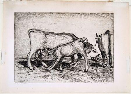 Etching Bozzetti - LA VACCA E IL BOCCINO (The cow and the calf), fourth version.