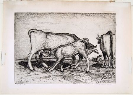 Etching Bozzetti - LA VACCA E IL BOCCINO (The cow and the calf), fourth version.