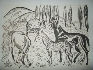 Pochoir Dufy - La varende chevaux équitation E.O-1957 -