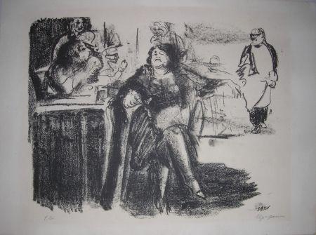 Lithograph Sassu - La vecchia mondana