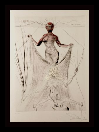 Etching Dali -  La Venus Aux Fourrures Woman Holding Veil