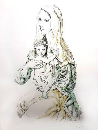 Lithograph Foujita - La Vierge et l'Enfant