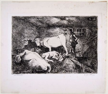 Etching Bozzetti - LA VISITA NOTTURNA (Visiting the stable in the night)
