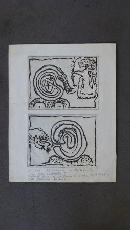 Etching Alechinsky - Labyrhinte et reine ,crapaud et labyrinthe