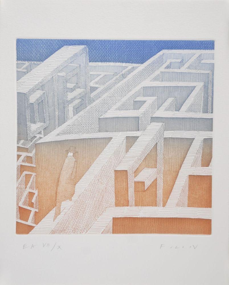 Etching And Aquatint Folon - Labyrinthe
