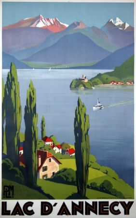 Lithograph Broders - Lac D'Annecy